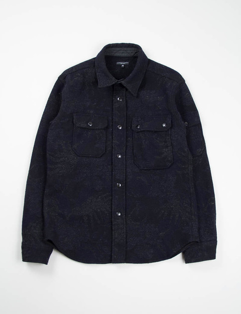 Navy/Grey Wool Floral Jacquard CPO Shirt