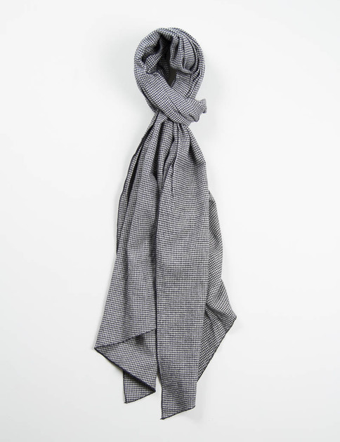 Grey Houndstooth Flannel Long Scarf