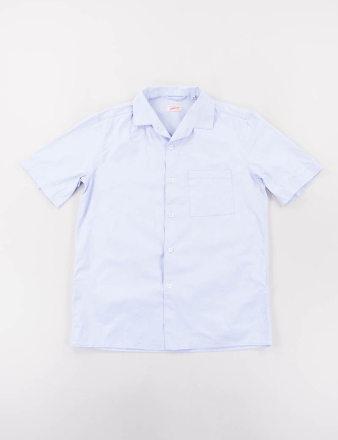 Blue Cotton Pinpoint Pyjama Shirt