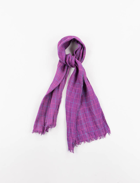 Purple Windowpane Check Linen Neck Scarf