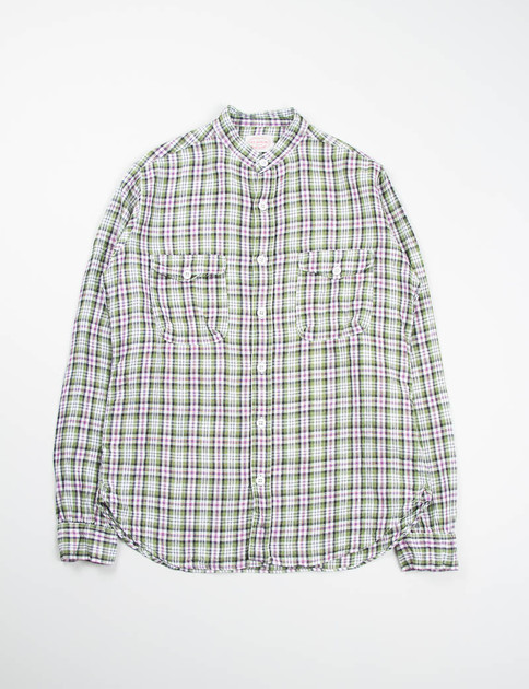 Green/White Check Banded Collar Mill Shirt