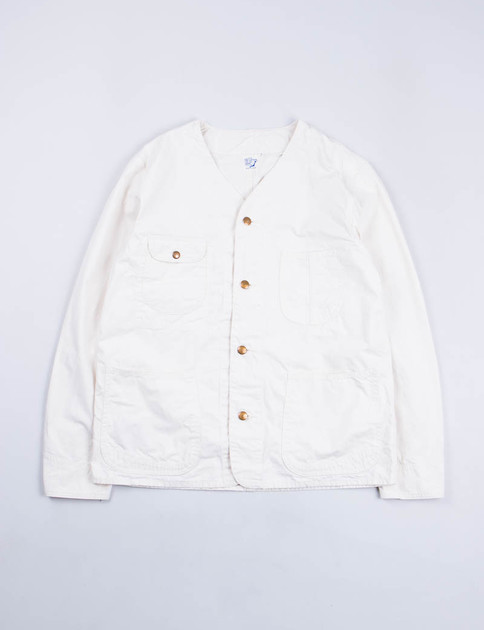 Ecru Nep Poplin Rail Road Jacket