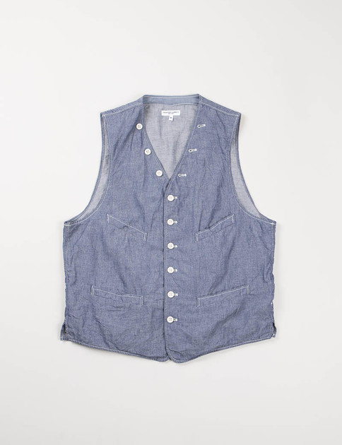 Indigo Cotton Dungaree Cloth Cinch Vest