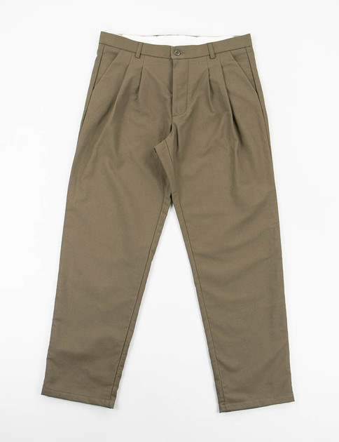 Olive Wool Cotton Serge Service Pants