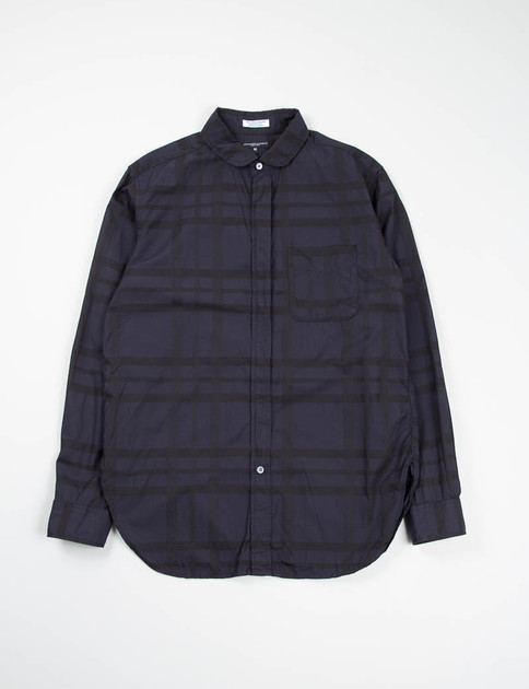 Navy Big Plaid Rounded Collar Shirt