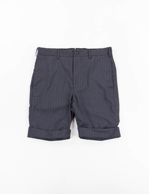 Dark Navy Stripe Tropical Wool Cinch Short