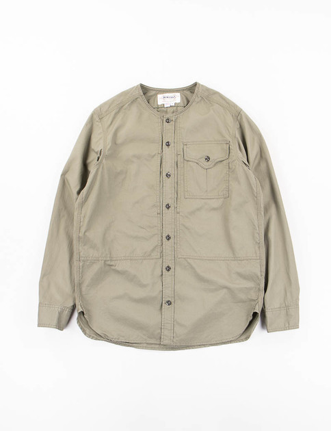 Olive Vancloth Long Sleeve Crew Neck Field Shirt