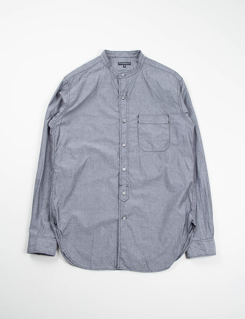 Grey Chambray Banded Collar Shirt