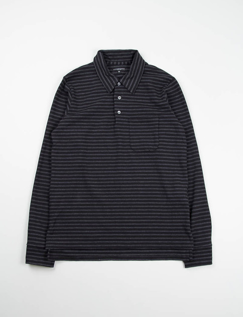 Black/Grey Stripe Jersey Long Sleeve Polo