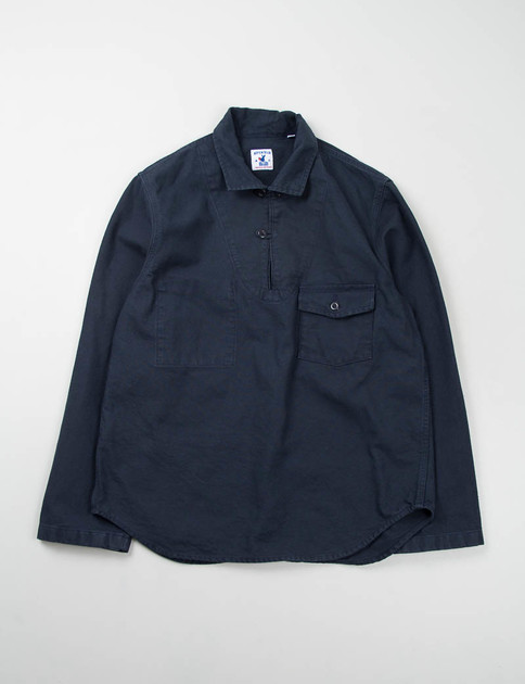 Navy Cotton Serge Roscoff Shirt