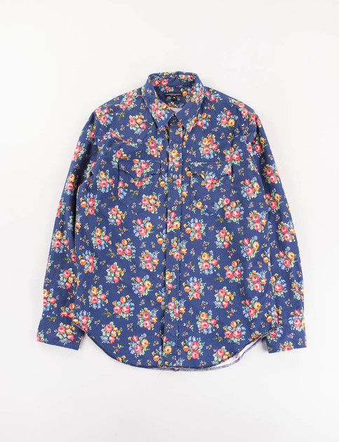 Navy Floral Flannel Western Shirt
