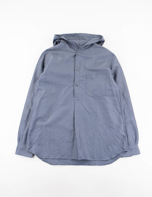 Navy Cotton/Ramie Oxford Cloth Hooded Pullover Shirt