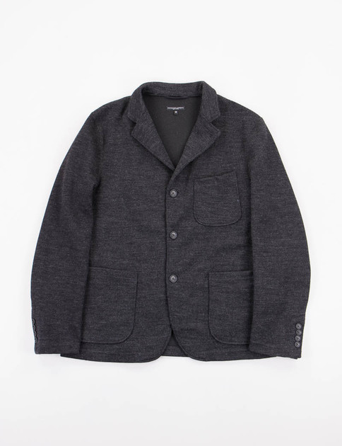 Charcoal Wool Jersey Knit Blazer