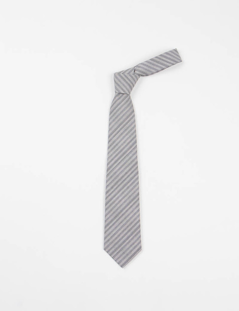 Grey Striped Glen Plaid Neck Tie