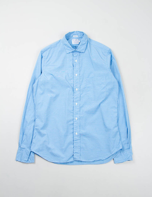Blue End on End Point Collar Shirt