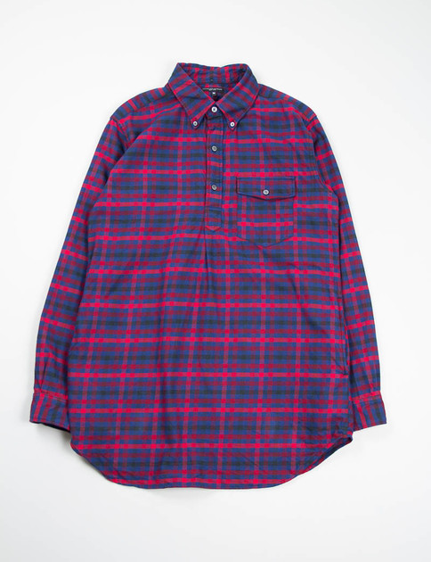 Red/Navy Brushed Plaid Popover Long BD Shirt