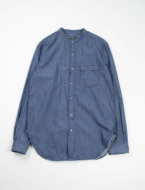 Indigo Polka Dot Chambray Banded Collar Shirt