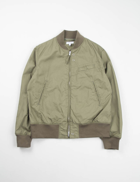 Olive Washer Twill Aviator Jacket