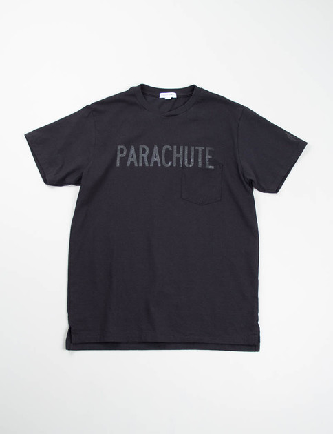 Black Parachute Printed Cross Crew Tee