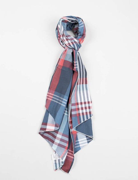 Blue/Red/White Big Plaid Long Scarf