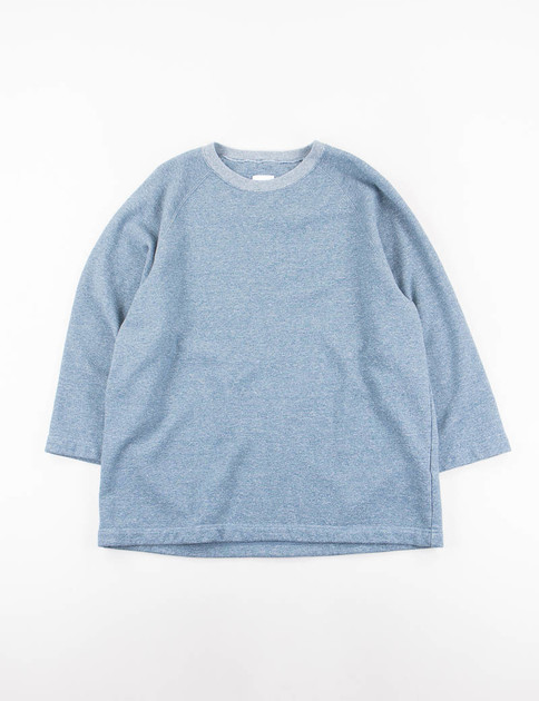 Blue Heathered Jersey 3/4 Raglan Sleeve Oversize Sweatshirt