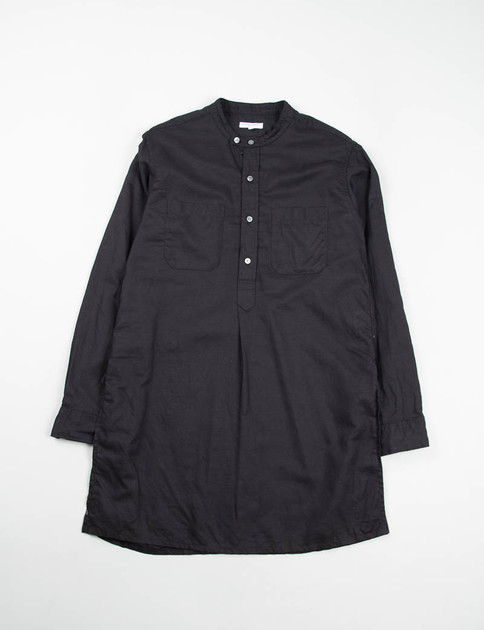 Black Cotton Linen Handkerchief Banded Collar Long Shirt