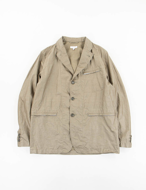 Olive Coated Linen Knockabout Jacket