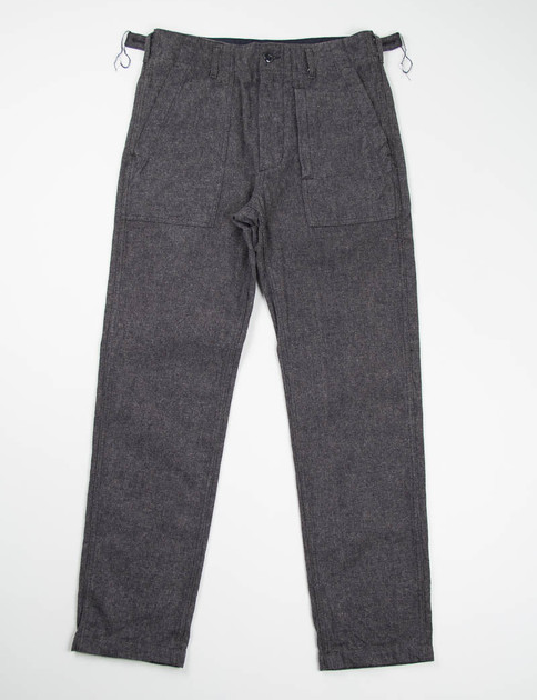 Charcoal Brushed Small Herringbone Fatigue Pant