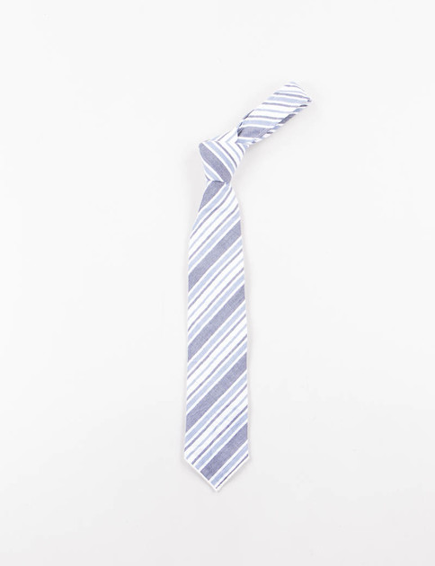Indigo/White Wide Seersucker Stripe Neck Tie