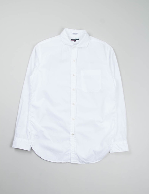 White 100's 2ply Broadcloth Spread Collar Shirt