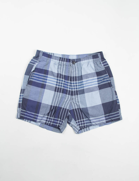 Navy/Blue Big Plaid Long Beach Short