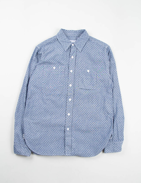 Indigo Polka Dot Chambray Work Shirt