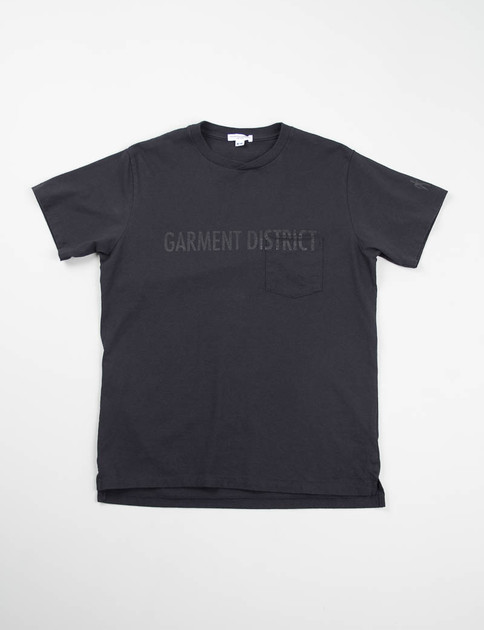 Navy Garment District Printed Cross Crew Tee