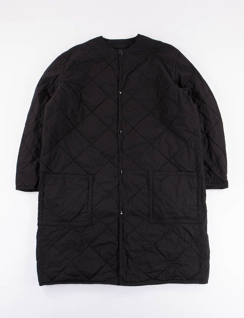 Black Quilted No Collar Coat