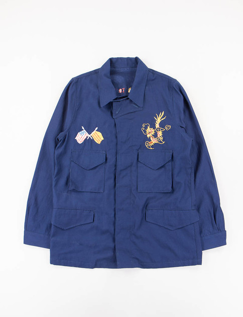 Navy Embroidery Jungle Fatigue Jacket
