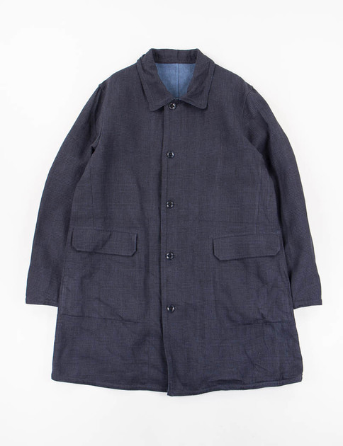 Navy Linen Bonded Double Face Cloth Reversible Easy Coat