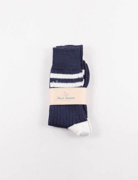 Ink/Nature S75 Organic Wool Striped Socks
