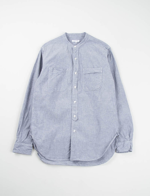 Blue Cotton Chambray Banded Collar Shirt