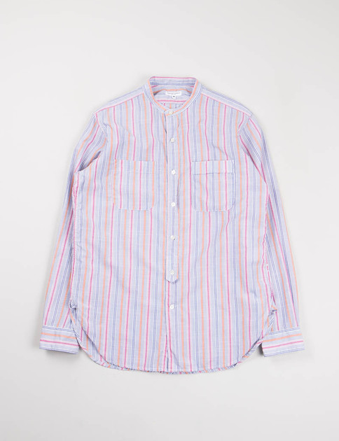 Pink/Orange Small Multi Stripe Banded Collar Shirt