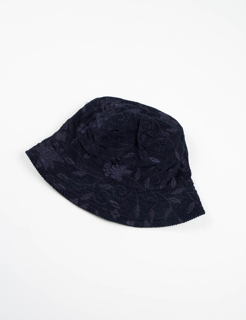 Dark Navy Floral Embroidered Corduroy Bucket Hat