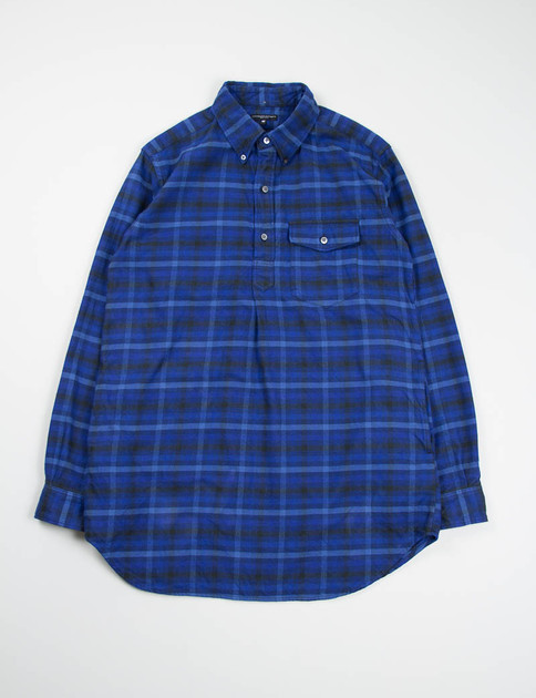 Blue/Navy Brushed Plaid Popover Long BD Shirt