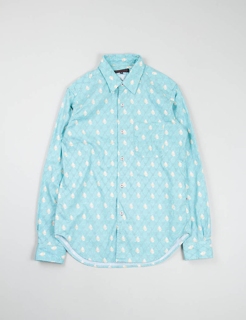 White/Light Blue Nautical Print Red Button Hole Shirt