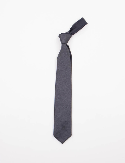 Grey Worsted Wool Combo Neck Tie
