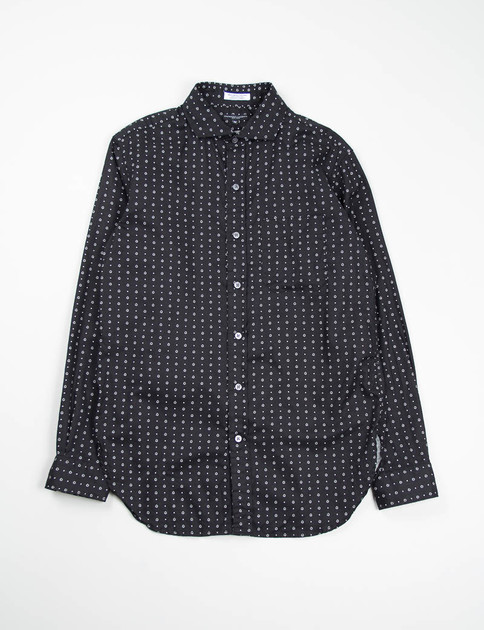 Black Foulard Print Spread Collar Shirt