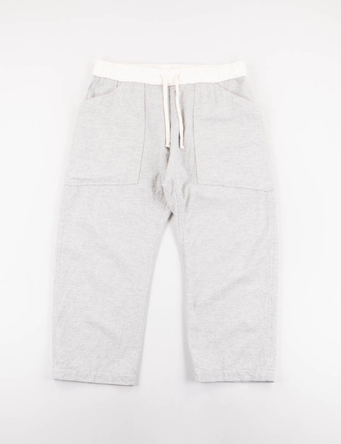 Grey Cotton/Wool Chambray Cloth Loose Fit Cropped Pant