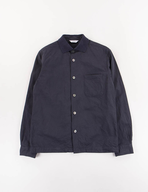Navy Rib Collar Shirt