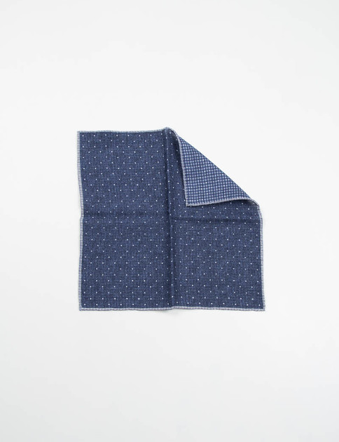 Indigo Polka Dot Double Sided Pocket Square