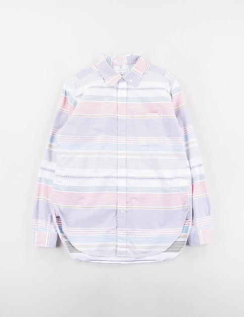 White Horizontal Dobby Stripe Rounded Collar Shirt
