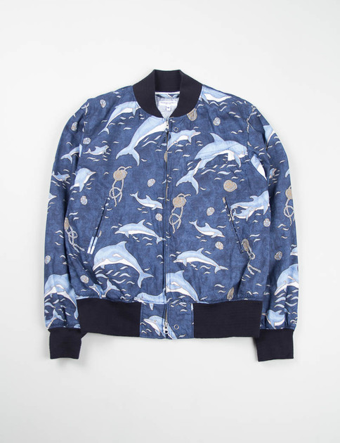 Navy Dolphin Print Aviator Jacket