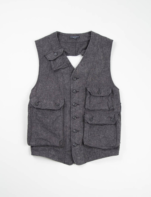 Charcoal Brushed Small Herringbone C–1 Vest